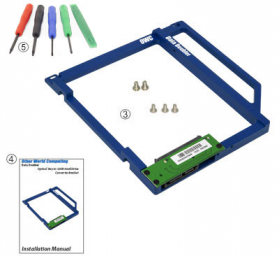 """OWC Data Doubler Optical to 2.5"""" SATA Drive Converter Bracket Solution for MacBook and MacBook Pro - What is included"""